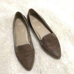 Eileen Fisher Play Brown Intaglio Leather Sz 9.5